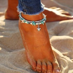 Jewelry - Boho Turquoise & Silver Ankle Bracelet